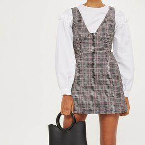 TopShop Check A-Line Pinafore Plaid Mini Dress US4